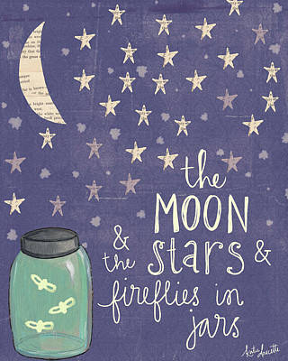 Moon Stars Fireflies Poster by Katie Doucette