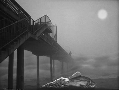 Moonlight Beach Poster by Larry Butterworth