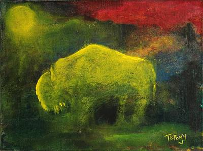 Poster featuring the painting Moonlight Buffalo by Barbie Batson