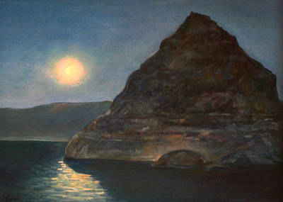 Poster featuring the painting Moonlight On Pyramid Lake by Donna Tucker