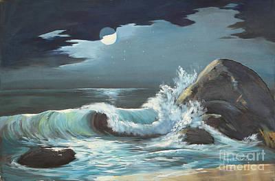 Moonlight On Waves Poster by Jayne Schelden
