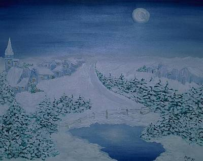 Moonlight Over Kitzbuehel Poster by Inge Lewis