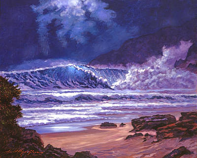 Moonlight Over Makena Beach Poster by David Lloyd Glover