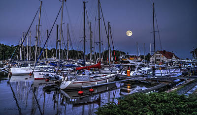 Moonlight Over Yacht Marina In Leba In Poland Poster by Julis Simo