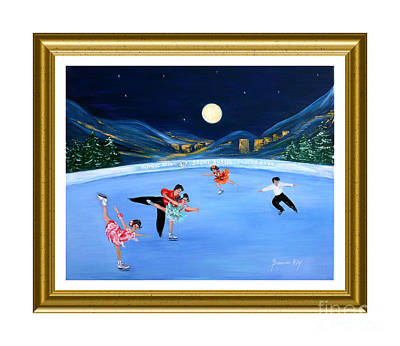 Moonlight Skating. Inspirations Collection. Card Poster by Oksana Semenchenko