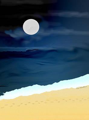 Moonlight Walk At Low Tide Poster by Kae Cheatham