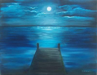 Moonlit Dock Poster