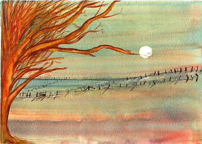 Moonlit Farmland Poster