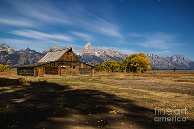 Moonlit Mormon Barn At Grand Teton Np Poster by Vishwanath Bhat