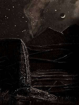 Poster featuring the mixed media Moonlit Night by Angela Stout