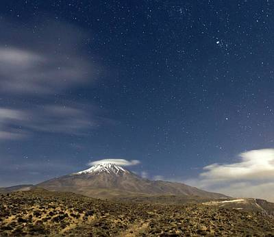 Moonlit Night At Mount Damavand Poster