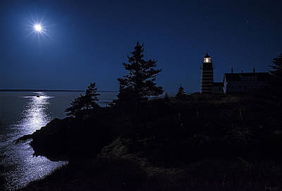 Moonlit Panorama West Quoddy Head Lighthouse Poster by Marty Saccone