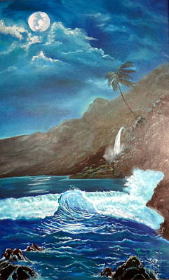 Poster featuring the painting Moonlit Wave by Jenny Lee