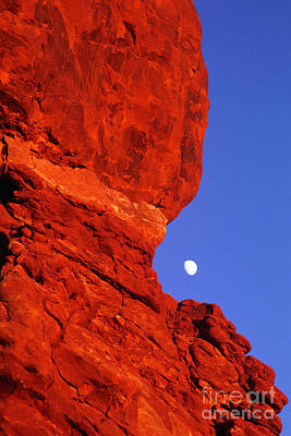 Poster featuring the photograph Moonrise Balanced Rock Arches National Park Utah by Dave Welling