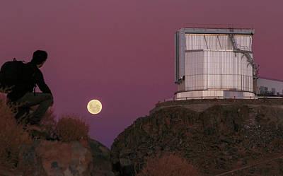 Moonrise Behind The Ntt Telescope Poster