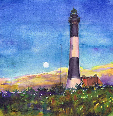 Poster featuring the painting Moonrise Fire Island Lighthouse by Susan Herbst