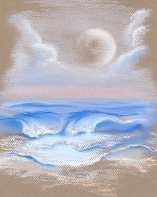 Poster featuring the pastel Moonrise Over Myrtle Beach by MM Anderson