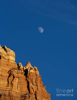 Moonrise Over Sandstone Poster