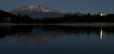 Moonrise Over The Lake At Mount Shasta Poster