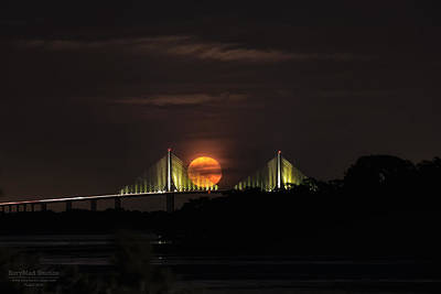 Moonrise Over The Skyway Bridge Poster
