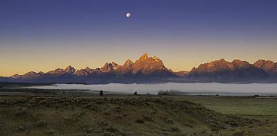 Moonset At Dawn Grand Teton National Park Poster