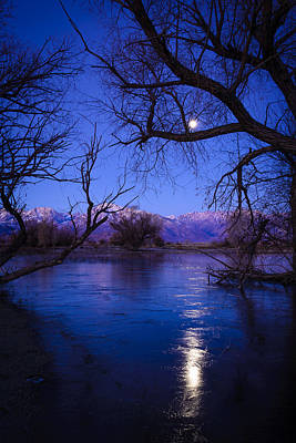 Moonset On Farmers Pond Poster