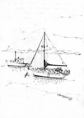 Moored Boats Monhegan Island Poster by Richard Wambach