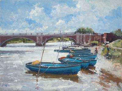 Moorings At Hampton Court, 2011 Oil On Canvas Poster