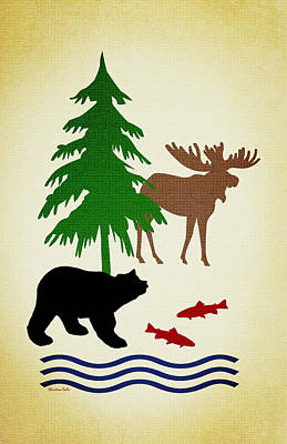 Moose And Bear Pattern Aged Poster by Christina Rollo
