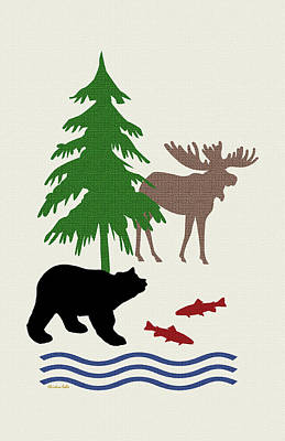 Moose And Bear Pattern Art Poster