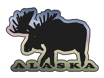 Moose At Sunset Poster