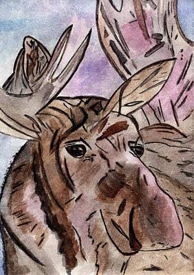 Moose At Sunset Poster by Elizabeth Briggs