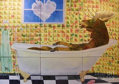 Moose Bath II Poster