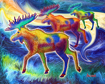 Poster featuring the mixed media Moose Mystique by Teresa Ascone