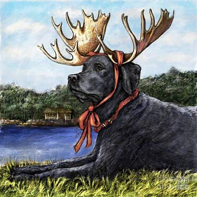 Moose Sighting - Black Poster