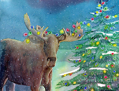 Poster featuring the painting Moosey Christmas by LeAnne Sowa