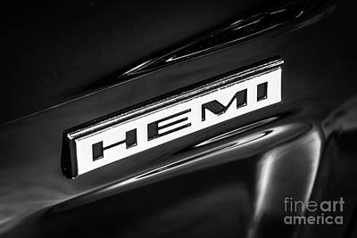 Mopar Hemi Emblem Black And White Picture Poster