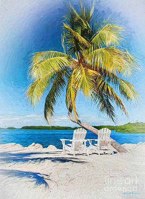 Morada Bay Palm And Chairs Poster