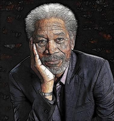 Poster featuring the painting Morgan Freeman  by Georgeta Blanaru