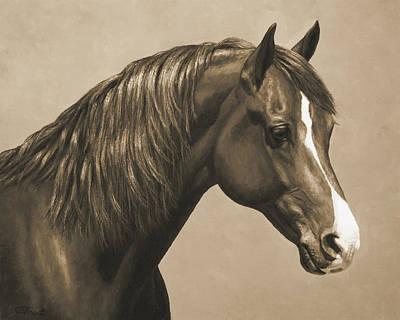 Morgan Horse Painting In Sepia Poster