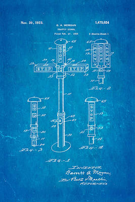 Morgan Traffic Signal Patent Art 1923 Blueprint Poster by Ian Monk