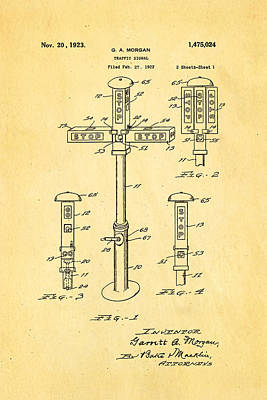 Morgan Traffic Signal Patent Art 1923 Poster by Ian Monk