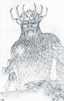 Poster featuring the drawing Morgoth And Fingolfin by Curtiss Shaffer
