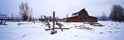 Mormon Barn In Winter, Wyoming, Usa Poster by Panoramic Images