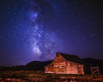 Mormon Barn With Milky Way Poster by Vishwanath Bhat