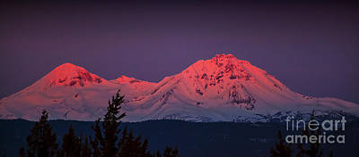 Morning Dawn On Two Of Three Sisters Mountain Tops In Oregon Poster by Jerry Cowart