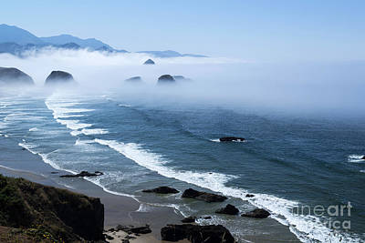 Morning Fog At Ecola Point Poster by Yefim Bam