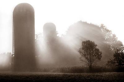 Morning Fog Burning Off The Farm Poster