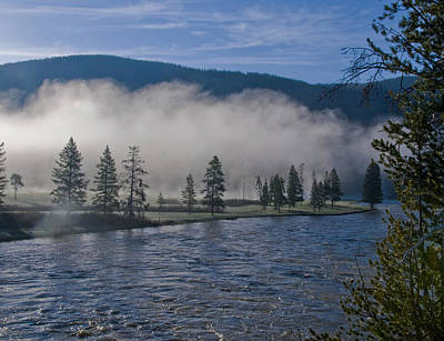 Morning Fog On The River Poster by SEA Art
