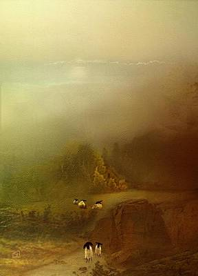 Morning Fog Sheep Poster